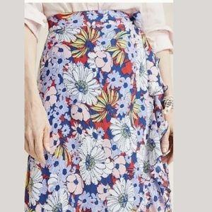 New Maeve Anthropologie Sybil Wrap Floral Skirt